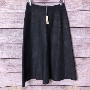 NWT Max Studio Charcoal Thick Knit Midi Skirt